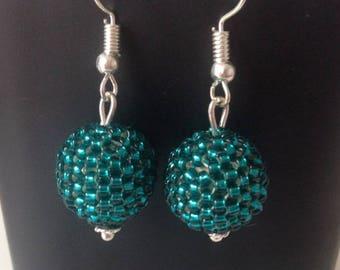 Ball 3D peyote stitch earrings