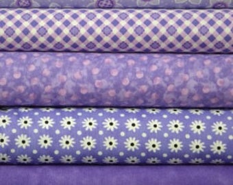 Purple fat quarter fabric bundle