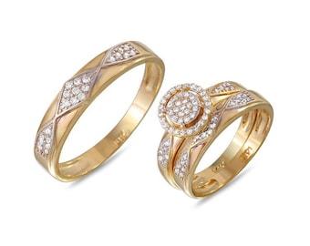 Gold Engagement Wedding Ring Trio