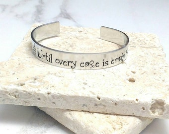 Vegan until every cage is empty cuff bracelet, handstamped