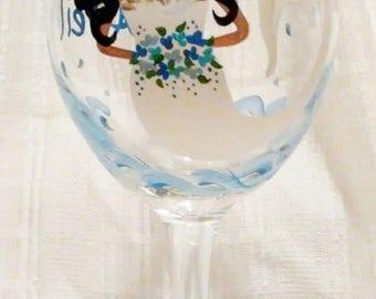 Mermaids, Bride wine glasses, Hand painted glasses,Wedding glasses,Bride,Bridal shower,Wine glasses,Painted glasses,Mermaid,Drinking glasses
