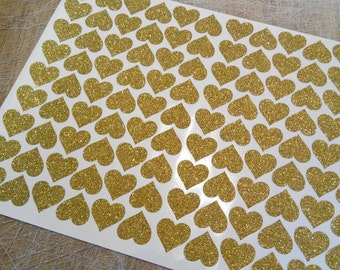 20 heart stickers, glitter envelope seals, Gold glitter heart sticker, glitter wall decals, paper label, letter seal, adhesive seal