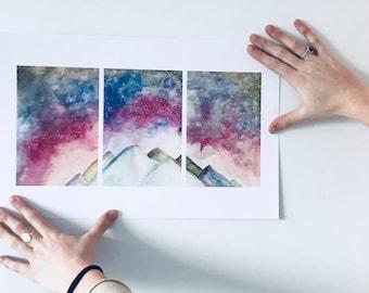 Cosmos + Mountains Print