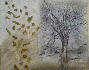 Terrestrial fragments 50x50 Framework mixed technique on canvas