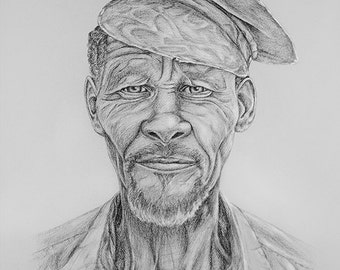 A2 - For him PORTRAIT Kalahari Bushman DRAWING San people monochrome Realistic wall art decor lifestyle Artwork Black Grey muddpuppie design