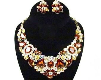 SALE SALE Amber Crystal Rhinestone Bridal Statement Necklace, Brown Crystal Necklace, Amber Rhinestone Crystal Evening Necklace