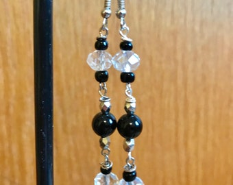 Black and Silver Dangle Earrings, Black and Clear Dangle Earrings, Beaded Dangle Earrings, Silver and Black Earrings