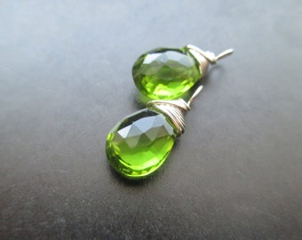 PERIDOT Quartz wire wrapped gemstone Interchangeable Earring drops, dangles, charms, Pair of genuine faceted briolettes