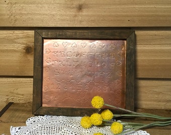 Vintage punched abc framed copper wood wall decor farmhouse country cabin wall alphabet gift primitive cabin cottage