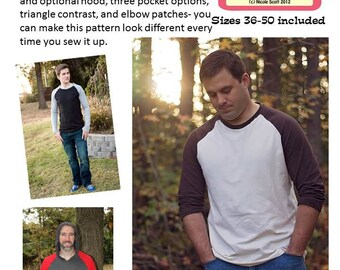 Jerry's Raglan Shirt Men's PDF sewing pattern sizes 36-50 included
