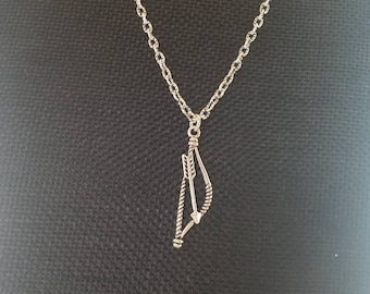 Bow and arrow pendant on antiqued silver chain. Archery hunting bowhunting