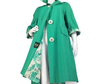 OOH BABY 60s Mod Trench Coat M L, Jackie O Coat, Spring Coat, 1960s Raincoat, Sea Foam Green, Mint Green, Lightweight Coat, 34 Sleeves, M L