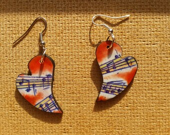Polymer clay, music earrings, heart, unique, handmade, hand-engraved, original design