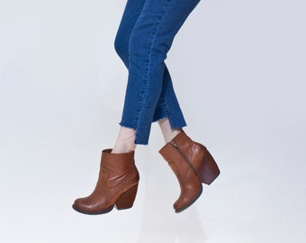 Cropped Hi Lo Stretch Jeans | Women's High Waist | Bohemian Blue Denim Pants | Tall Long | L415 & Co Clothing (#415-43J)