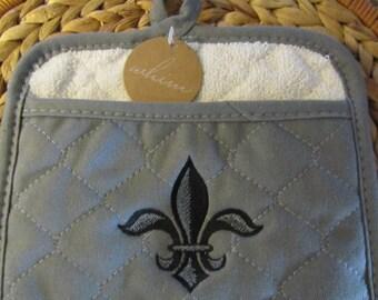 Pot Mitt - Napoleonic Fleur de Lis - Whim - 100% Cotton