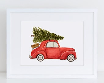 Vintage Car with Christmas Tree Watercolor Fine Art Print