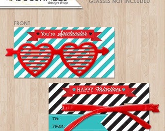 You're Spectacular Glasses Valentines cards - Instant Download