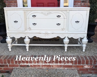 Gorgeous Antique Buffet, Vintage Sideboard, Hand Painted, Example of Our Work, Contact to See Similar in Stock Pieces