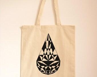 Canvas Bag/ Tote Bag/ Geometric Print/ Shopping Bag/ Textile Print/ Cotton Bag/ Day Bag/ Eco Friendly/ Teardrop Diamond Design