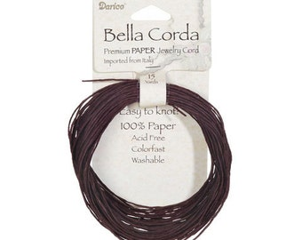 Brown Micro~Twist Paper Jewelry/Craft Cord~ Imported~Italian~1mm thick. 15 yards~ Acid Free~ Colorfast~ Washable
