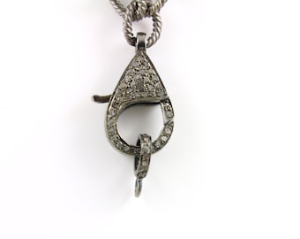 Pave Diamond, Pave Clasp, Diamond Lobster Clasp ,Clasp, Oxidized Silver, Diamond Findings, Size 24 x 13 mm. (DC-003)