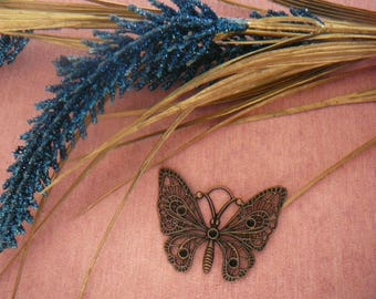 Large 45 x 35 mm metal Butterfly pendant