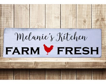 "Personalized Kitchen Farm Fresh Rustic Farmhouse Style Handmade Real Wooden Sign Wall Art Distressed Plaque Home Decor  7.25""x 24"""