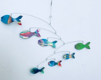 Fish Mobile Art So Ugly Its Cute READY TO SHIP Kinetic Art Mobile Sculpture by Carolyn Weir - Perfect for your Craft Room
