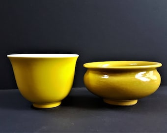 TWO Chinese monochrome yellow bowl, China, Qing Dynasty, Guangxu (1875-1908) Chinese Porcelain Yellow Glaze Cup and bowl, Chinese Antiques