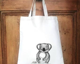 koala bear library book bag personalised kids library bag, kids personalised library bag, personalised book bag, children's  library bag