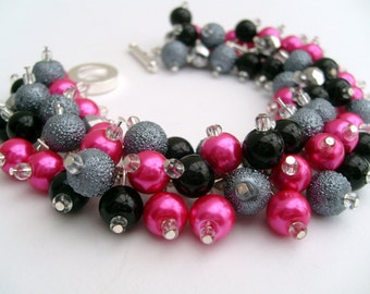 Hot Pink Silver Gray and Black Pearl Beaded Bracelet, Bridesmaid Jewelry, Cluster Bracelet, Pearl Bracelet Bridesmaid Gift, Hot PInk Jewelry