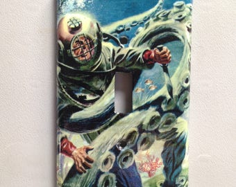 light switch cover plate: Octopus Vs. Deep Sea Diver