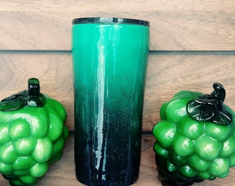 Custom 20 oz tumbler, Stainless Steel, Ombre Painted Green and Black with Silver