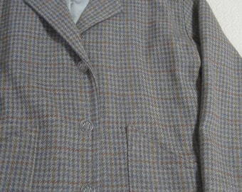 Wool Jacket, Box Styling, Valdecrafts, Vermont, Women's, Hounds Tooth, Fully Lined, Handmade, Vintage