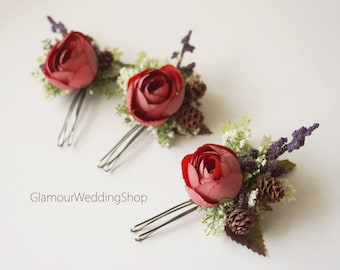 Burgundy Flower Clip Wedding Hair Clip Bridal Headpiece Burgundy Floral Hair Pin Flower Hair Piece Wedding hair accessory