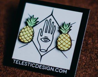 Cute Pineapple Stud Earrings | Tiny Fruit Handmade Post Earrings