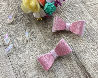 Set Of 2 Baby Pink Glitter Hair Bows