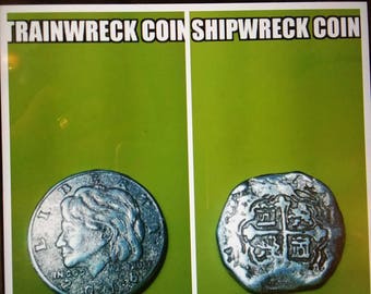 Shipwreck coin pirate coin antique reproduction silver cob Hillary Clinton coin buried treasure pieces of eight silver reale silver coin