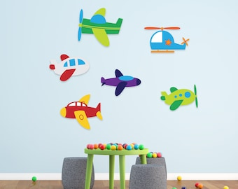 Airplanes Full Of Colors Wall Decor, Planes Flying Vinyl Art - Helicopter Decal For Nursery, Playroom, Boys, Kids, Any Room Decoration CG160