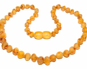 Genuine Raw Baltic Amber Baby Teething Necklace Honey