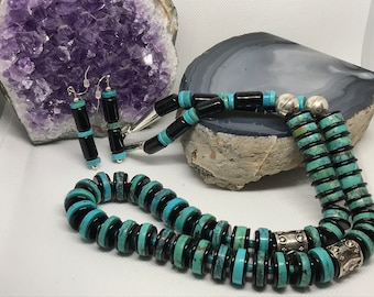 Turquoise, Smokey Quartz, Onyx, and Sterling Silver Necklace & Earrings