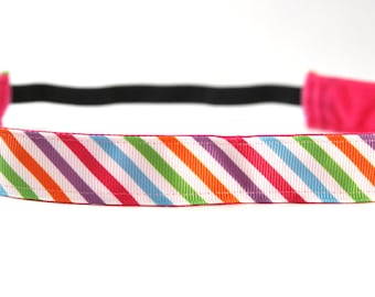Bright Stripe NonSlip Headband, Activewear, Fitness Apparel, Workout Accessory, Running Headband, Exercise Accessory, Stripe HairBand
