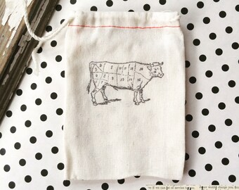 10 hand stamped cow butcher cut cotton bags, 3x5 cloth party bags - Farmhouse gift bag - Cow Farmhouse - Cotton gift bag - Cow Gift bag