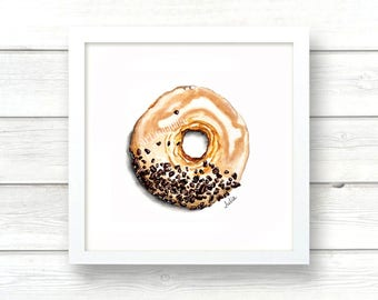 Donut art. food illustration.