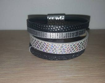 creation sequin black and White Leather cuff bracelet for women