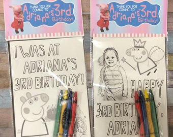 """Any Theme Personalized Birthday Party Favors - 5x7"""" Two Sketched Coloring Pages of YOUR Child and YOUR Theme -Set of 10 - Crayons Included -"""