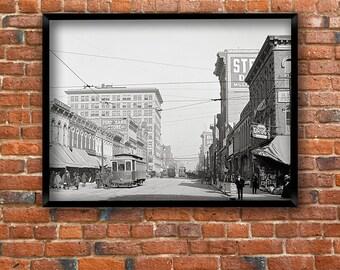 Birmingham, Alabama, year 1906.Second Avenue, looking east, Birmingham AL.Vintage Birmingham poster.Birmingham art print.