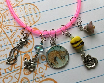 Set of 5 Handmade Stitch Markers - Cute Cat Charms and Czech Glass Beads - fit up to 7.0mm/US 10.75 needle size