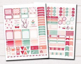 Cherry blossom planner stickers, spring planner stickers kit, filofax planner stickers printable