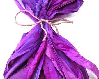 10YD. GRACE Sari Silk Bundle//Dyed Silk Sari Ribbon Bundle//Sari Tassels,Sari Wall Decor,Sari Fiber Jewelry,Sari Tapestry